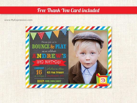 Bounce House Photo Birthday Invitations Pump It Up Photo Etsy