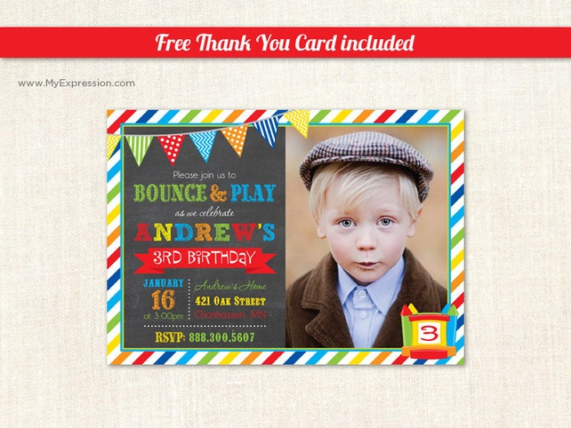 Bounce House Photo Birthday Invitations
