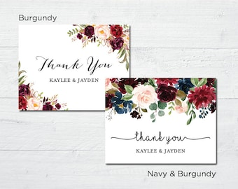 Elegant Floral Thank You Cards - Rustic Country Bridal Shower Thank You Cards - Navy or Burgundy Folded Wedding Thank You Cards - pack of 12