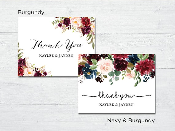 Elegant Floral Thank You Cards Rustic Country Bridal Shower Etsy