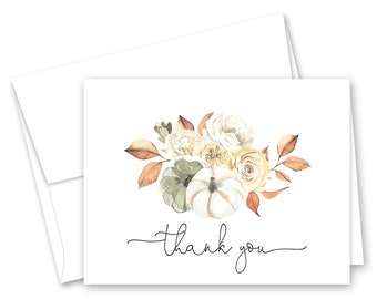 Autumn Floral Pumpkin Thank You Cards - Set of 12 with envelopes - 882