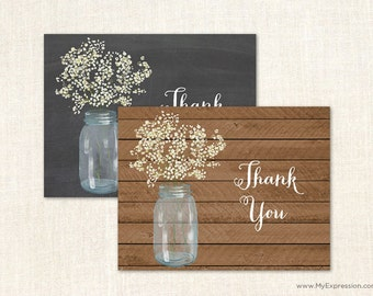 Baby's Breath Mason Jar Thank You Cards - Rustic Country Bridal Shower Thank You Cards - Rustic Wedding Thank You Cards