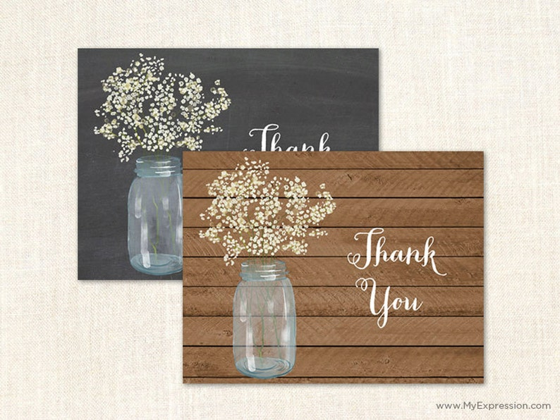 Baby's Breath Mason Jar Thank You Cards  Rustic Country image 0