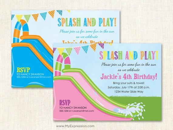 Water Slide Pool Party Invitations -  Boy or Girl Waterpark Birthday Invitations - Digital or Printed