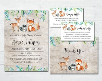 Rustic Woodland Animals Baby Shower Invitations -  Boy and Gender Neutral Baby Shower Invitations and Forest Animals Thank You Cards