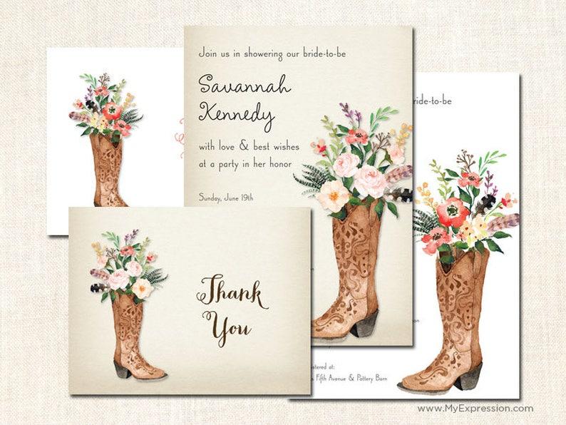 1305a5c0ef4 Western Bridal Shower Invitations Rustic Boots Wedding