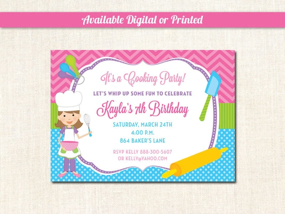 Baking Party Invitations Cooking Chef
