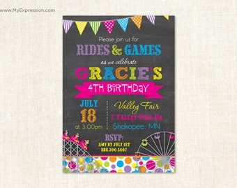 Bright Roller Coaster Girls Birthday Invitations - Ferris Wheel Girls Birthday Party - Digital or Printed
