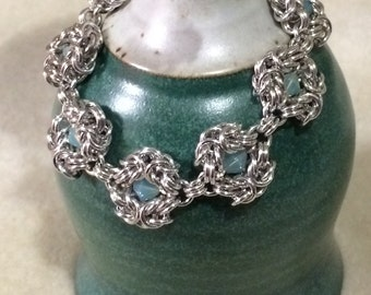 Romanov Bracelet - Byzantine Chain Maille Jewelry with Swarovski Elements Crystals