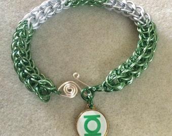 Green Lantern Superhero Full Persian Weave Bracelet - Aluminum Chain Mail