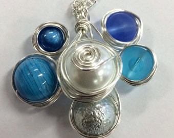 Handmade Wire-wrapped Necklace Pendant - blue