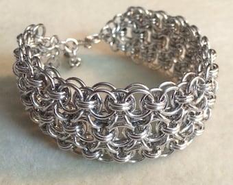 Handmade Adjustable Triple Helm Weave Bracelet Cuff - Aluminum Chain Mail