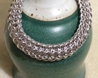 Dragonback Chain Maille Bracelet in bright aluminum