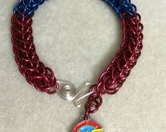 Wonder Woman Superhero Full Persian Weave Bracelet - Aluminum Chain Mail