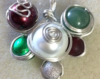 Handmade Wire-wrapped Necklace Pendant - Christmas