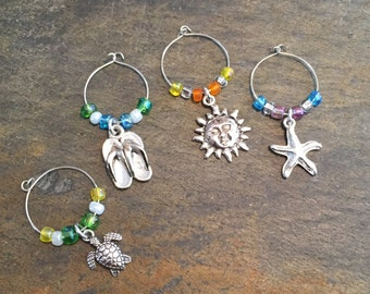 Beach themed wine glass charms - set of 4