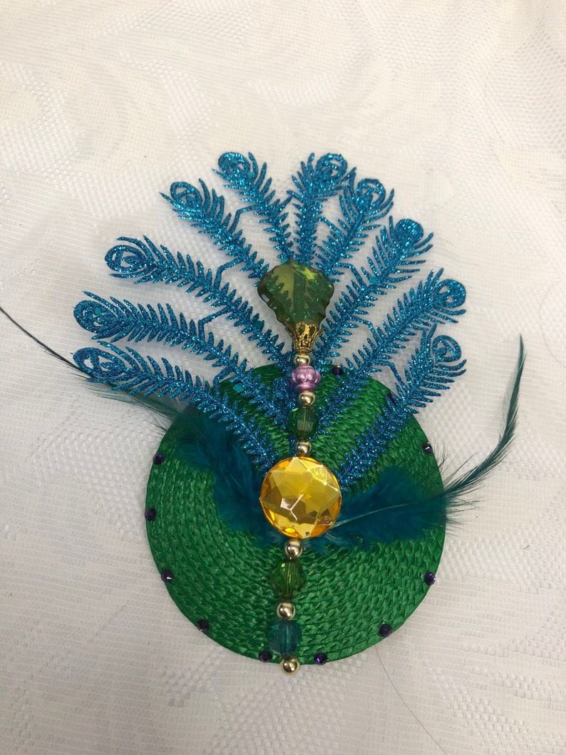 Party Peacock side fascinator 1920s