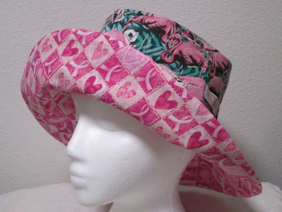 46e9fa02a88 Bucket Hat 23 Large Pink Flamingo with breast cancer