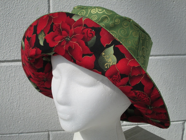 aea1f1838fb Bucket Hat 23 Large Holiday poinsettia Christmas red