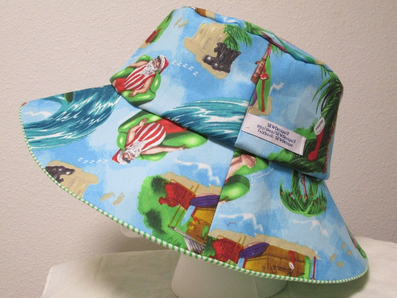 47fd096a5b7 Bucket Hat 24 Xlarge CHristmas Santa surfing Tropical