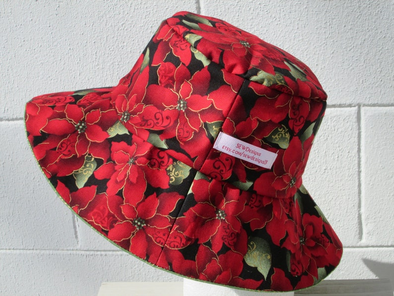 37ba2771c99a2 Bucket Hat 23 Large Holiday poinsettia Christmas red