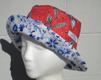 """Bucket Hat 22"""" Small hat French Floral bucket hat with blue and white"""