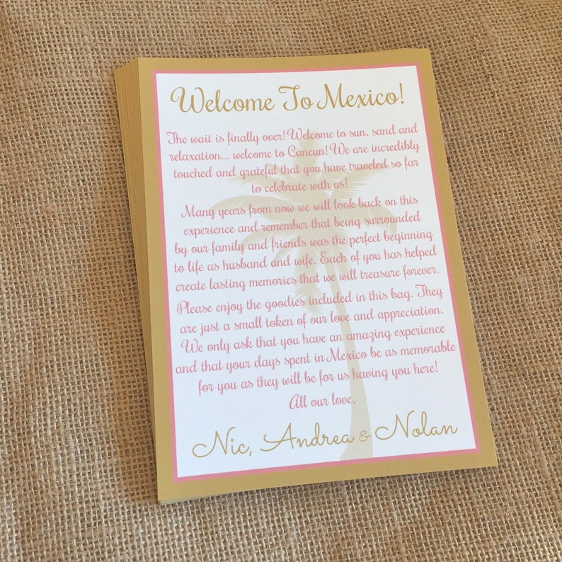 Wedding Tropical Welcome Letter Wedding Welcome Destination Wedding Welcome Welcome Letter Welcome Note Beach Wedding Welcome Letter