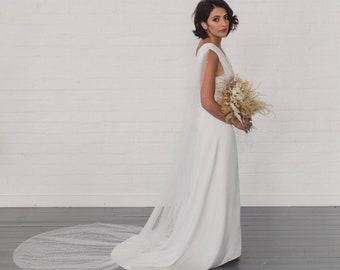 Pearl bridal cape, pearl drape wedding veil, pearl draped bridal veil, soft boho veil with pearls, bohemian, unique, modern, cool | HARPER