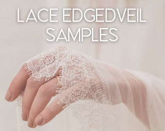 Lace samples, lace trim swatches, tulle sample, fabric swatch | Lace Edged Veil Samples