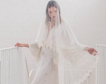 Chantilly lace drop veil, eyelash lace edge wedding veil, soft bridal veil, Kate Middleton blusher veil, silk style, English Net | MELODY