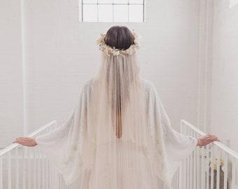 Flower crown veil, soft boho wedding veil, silk style bohemian bridal veil, single tier, raw cut edge, English Net, simple, minimal | WISDOM