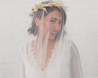 Soft tulle drop veil, soft silky drop veil, English Net drop veil, blusher veil, 2 tier, minimal, classic, modern, chapel, cathedral | TRUTH