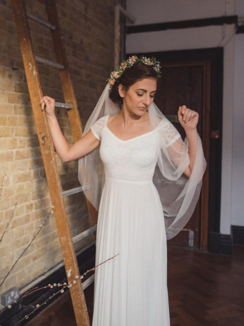 /'MEADOW/' white veil soft silk tulle boho veil draped veil fingertip Silk tulle drape veil chapel cathedral French silk tulle veil