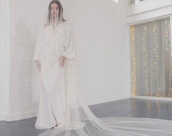 Drop veil, soft wedding veil, silk style drop veil, wide full drop veil, raw cut edge, English Net, blusher, simple, classic | MARGEAUX