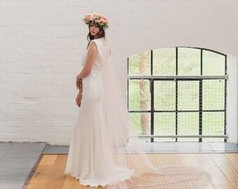 Soft wedding veil, silk style single tier bridal veil, raw cut edge, English Net, simple, classic, minimal, medium wide full veil | BEAUTY