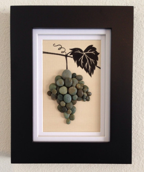 Pebble Art Wine Grapes Grapevine Wine Green Wall Art Etsy