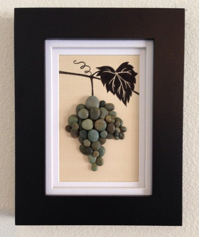Pebble art wine grapes grapevine wine green wall art   Etsy