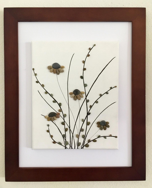 Kiesel Kunst Blumen Leinwand Kunst gerahmte Kunst | Etsy