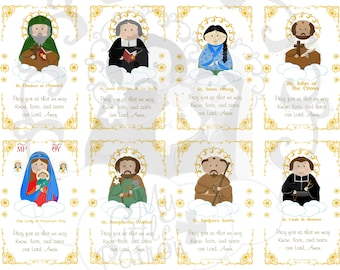 Set 3 Cute Saint Holy Cards Printable PDF