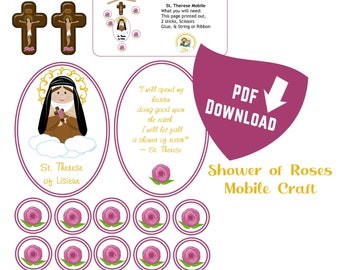 Printable Shower of Roses Mobile Craft PDF