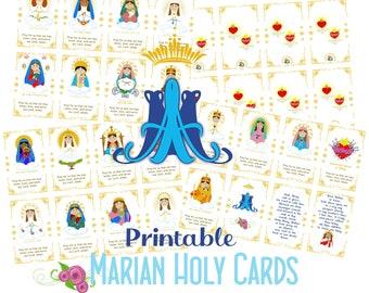 Printable Marian Holy Cards PDF