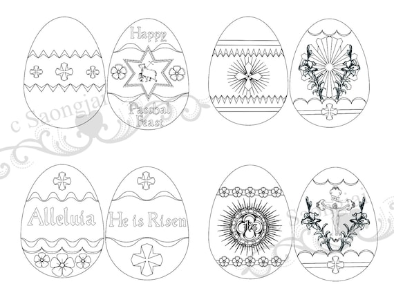 Easter Egg Coloring Pages Printable Downlaod Etsy