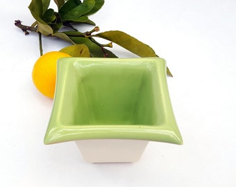 Vintage Flower Pot, Ceramic Green White Succulent Planter, Small  Flowerpot, 1980s