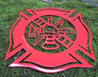 Firefighter Emblem Maltese Cross Wall Decor Fireman Gift Volunteer Ladder Honor Fire Cross Ax Badge