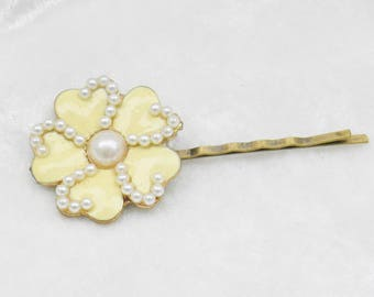 Yellow Enamel and Pearl Flower Bobby Pin Single