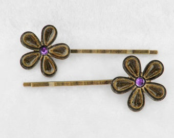 Bronze Flower Bobby Pin Pair with Purple Crystal Center