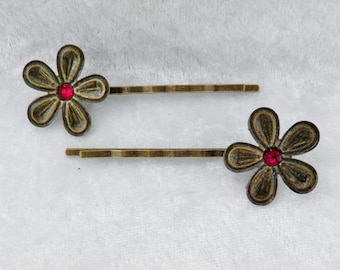 Bronze Flower Bobby Pin Pair with Red Crystal Center