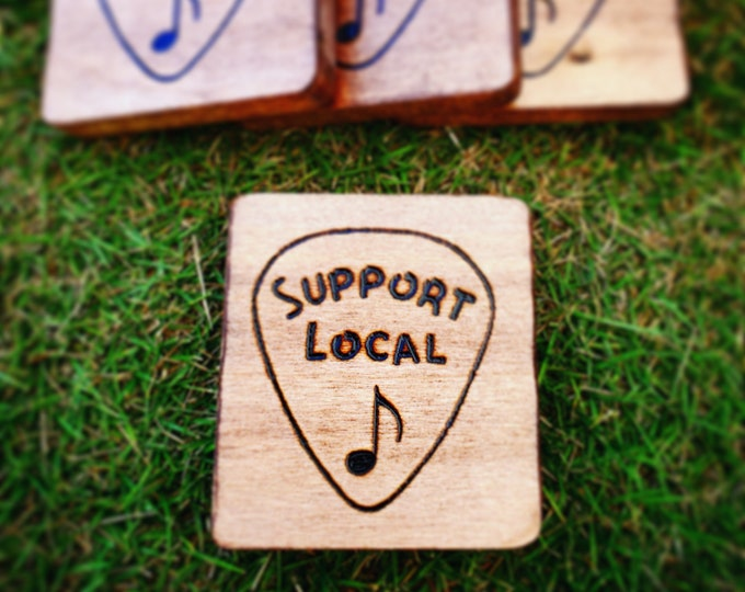 Set of 4 Hand Engraved Support Local Music wood coasters Wood burned Pyrography
