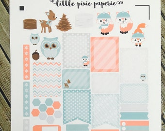 Frosty Fox Weekly Planner Stickers Set, for use with Erin Condren Life Planner, Happy Planner