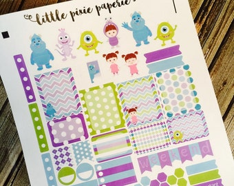 Monstropolis Weekly Planner Stickers Set, for use with Erin Condren Life Planner, Happy Planner